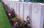 Gravestones for members of the Calgary Regiment in the Dieppe Canadian War Cemetery. Rob Alexander photo.