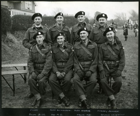 Back row: padre, Clint Richardson, Dick Eldred, Freddy JennerFront row: John Begg, The M.O., Major Mac, George Valentine