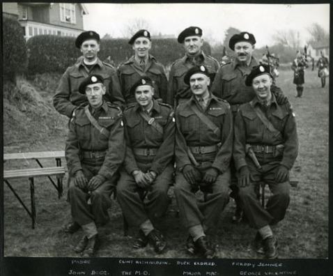 Back row: padre, Clint Richardson, Dick Eldred, Freddy JennerFront row: John Begg, The M.O., Major Mac, George Valentine