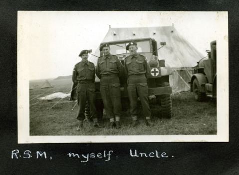 R.S.M., myself, Uncle. Salisbury Plains 1941. Alexander Family collection.