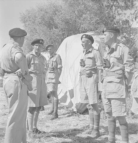 General Sir Bernard Montgomery meeting Lieutenant-Colonel C. Neurotsos, Commanding Officer, 14th Armoured Regiment (The Calgary Regiment) Credit: Canada. Dept. of National Defence / Library and Archives Canada / PA-144099