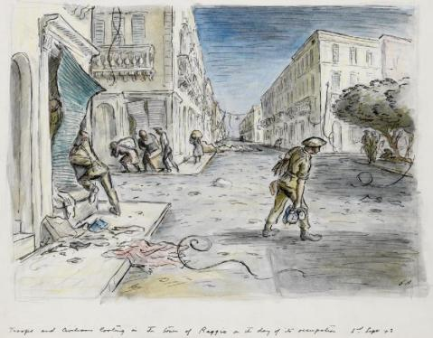 A view down the length of a street bordered by three-storey, typically Italian looking buildings. In the left foreground a British soldier is leaning into the damaged window of a building, while another British soldier is carrying some loot away from the building in the right foreground. In the middle ground to the left, four civilians are carrying large sacks of loot on their backs and are heading left around the street corner. © IWM (Art.IWM ART LD 3453)