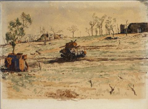 A view of a field on a hill scattered with bare bushes and trees. At the top of the hill there is a ruined building. Lower down the hill are two tanks. One is upright, the other is lying on its side rusting, with broken treads trailing in the grass. © IWM (Art.IWM ART LD 3696)