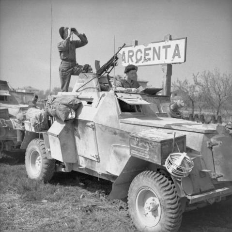 Humber light reconnaissance cars of 56th Recce Regiment in Argenta, 18th April 1945. © IWM (NA 24311)