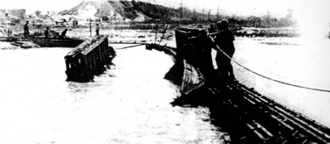 The Sangro River in Flood. Bailey Bridge Washed Away.  November 1943 (Imperial War Museum, London)