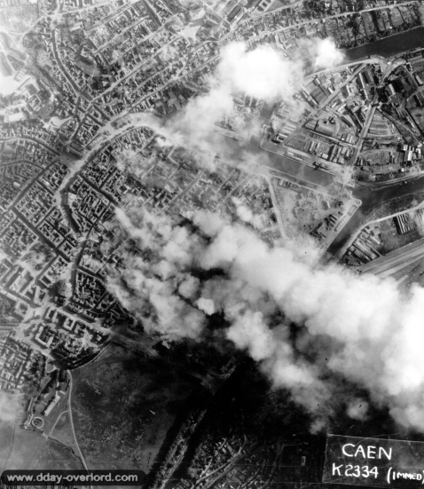 The bombing of Caen.