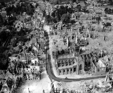 Aerial view after the bombardment in Vire, Normandy, 1944