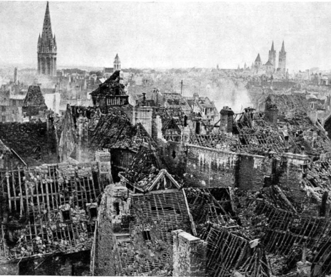 Caen, Normandy in ruins after bombings of July 8th and 9th, 1944