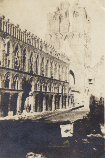 The Cloth Hall in the city of Ypres (Ieper) following the German bombardment during the Second Battle of Ypres, 1915.  Rob Alexander collection.