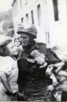 A Canadian despetch rider receives flowers during the liberation of Dieppe, Sept. 1, 1944.