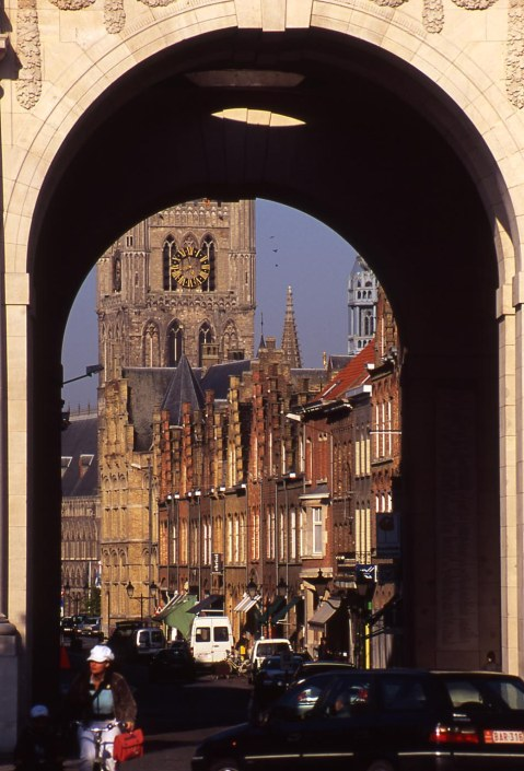The Menin Gate and the Cloth Hall today. Once a cloth market and warehouse completed 1304, it was largely destroyed. The reconstructed Cloth Hall houses the Flanders Fields Museum. The Menin Gate, meanwhile, is a British and Commonwealth war memorial where the Last Post is played every evening. Rob Alexander photo.