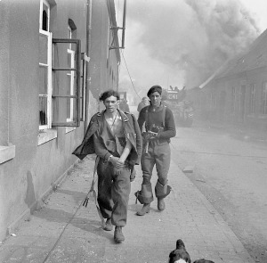 A German soldier taken prisoner during a German counterattack on the 4th Canadian Armoured Division, Sogel, Germany, 10 April 1945.  LAC.