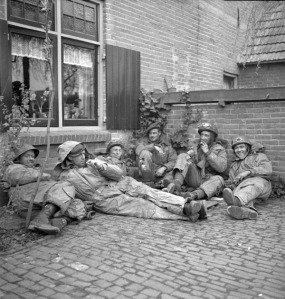 Infantrymen of The Calgary Highlanders, Doetinchem, Netherlands, 1 April 1945.  LAC.
