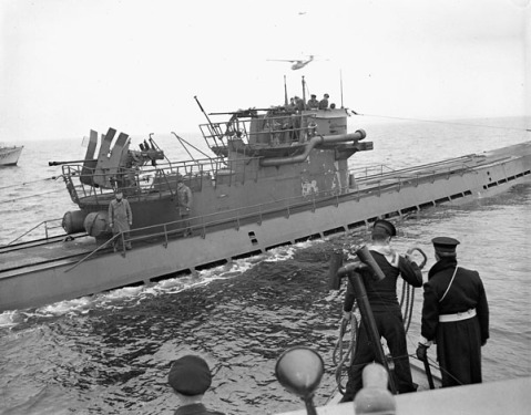 Surrender of the German submarine U-889 off Shelburne, Nova Scotia, Canada, 13 May 1945.