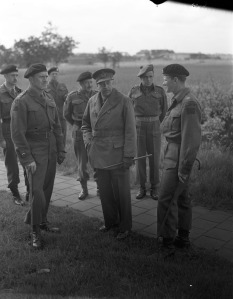 General Crerar visits the LDSH, 19 May, 1945. LAC.