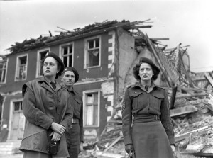 Members of the first contingent of the Canadian Women's Army Corps (C.W.A.C.) entering Hamm, Germany, 12 June 1945.  LAC.