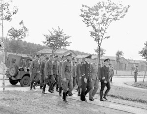 Demobilization of high-ranking German officers and officials at an internment camp, Esterwegen, Netherlands, 8 June 1945.  LAC.
