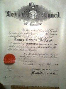 Dr. James G. McLeod's medical certificate.